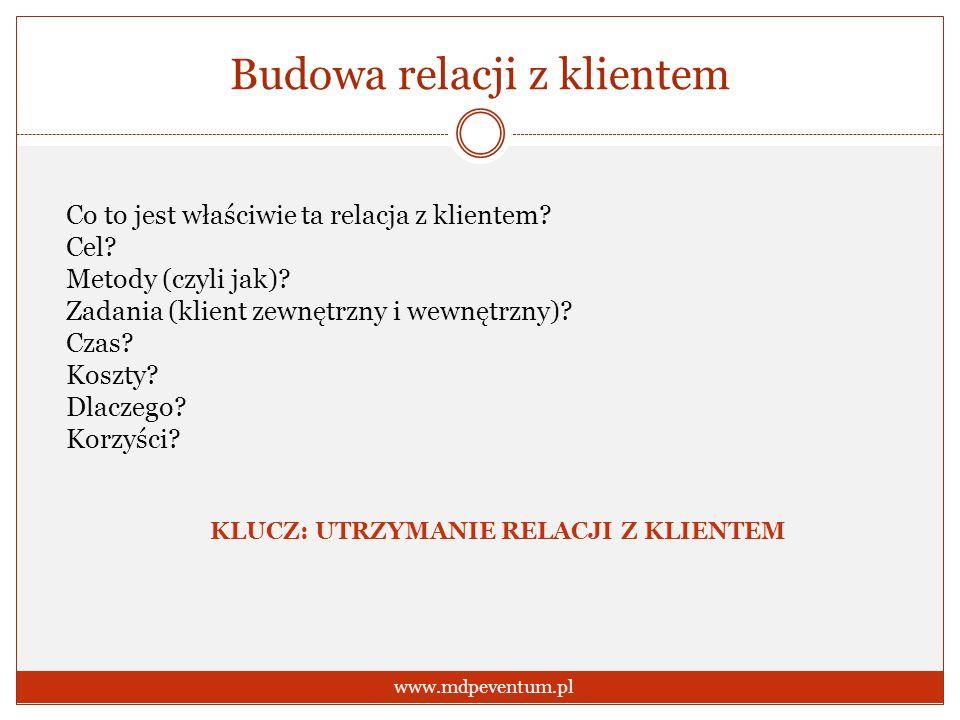 Budowa relacji z klientem www.mdpeventum.pl Co to jest właściwie ta relacja z klientem? Cel? Metody (czyli jak)? Zadania (klient zewnętrzny i wewnętrz