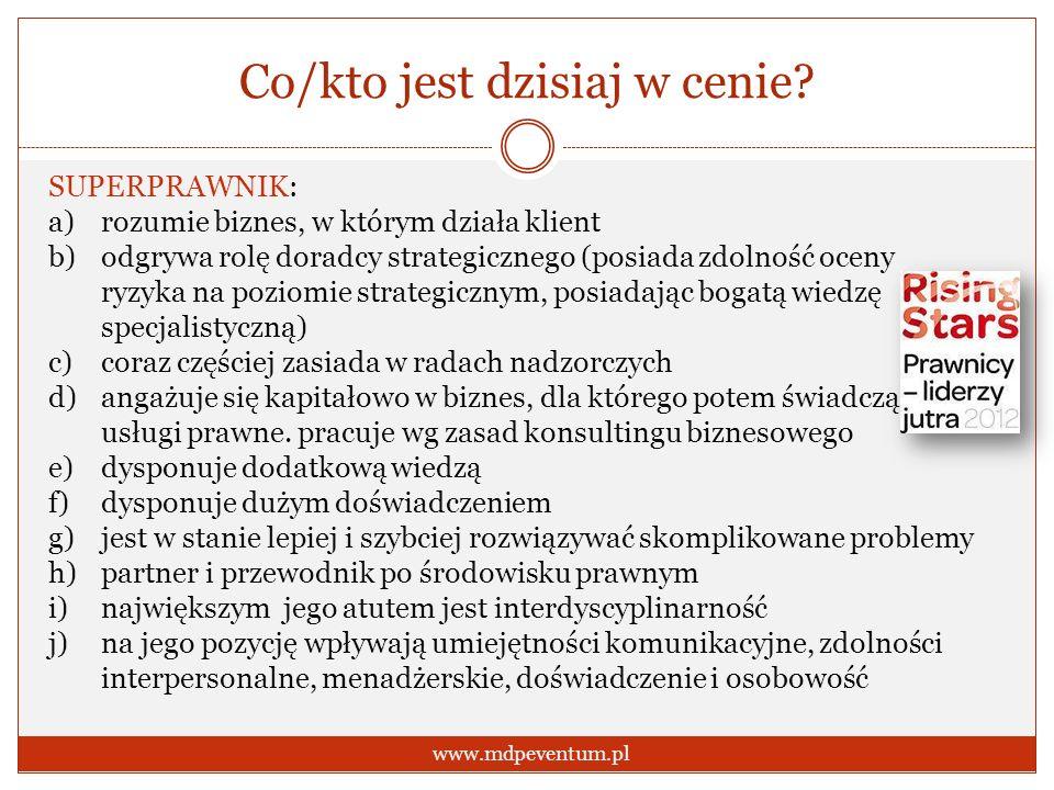 Co/kto jest dzisiaj w cenie? www.mdpeventum.pl SUPERPRAWNIK: a)rozumie biznes, w którym działa klient b)odgrywa rolę doradcy strategicznego (posiada z