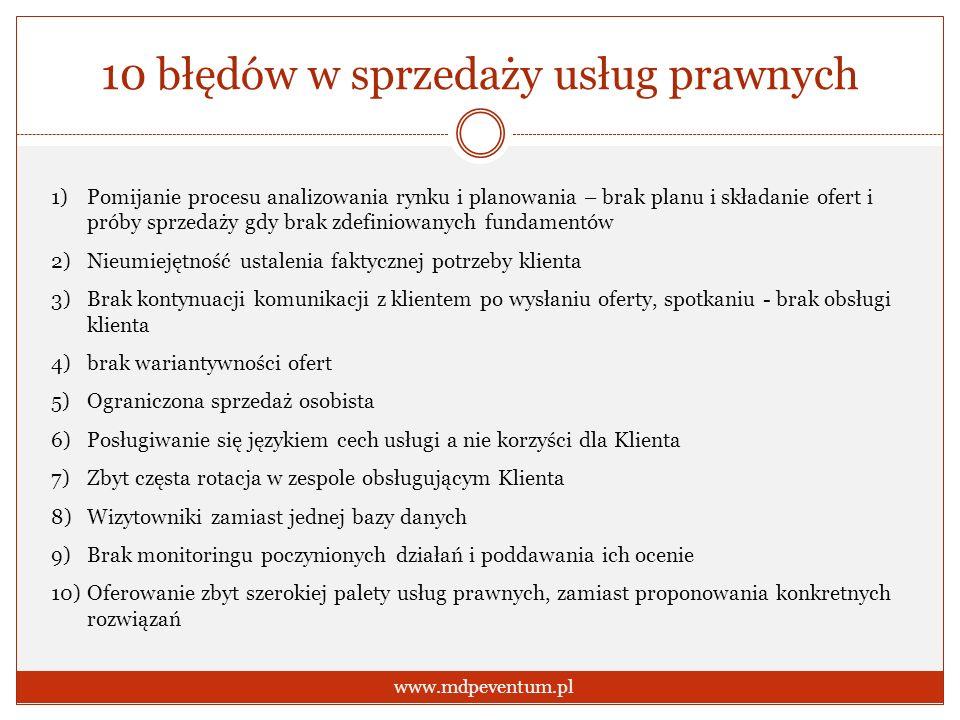 10 błędów w sprzedaży usług prawnych www.mdpeventum.pl 1)Pomijanie procesu analizowania rynku i planowania – brak planu i składanie ofert i próby sprz