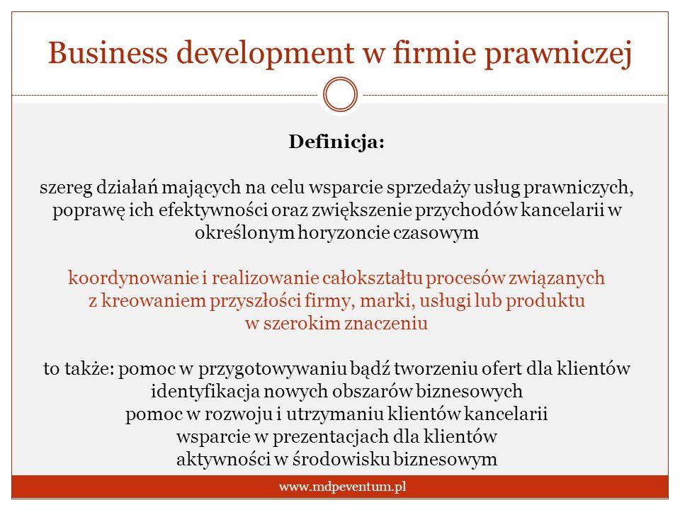 Business development w firmie prawniczej www.mdpeventum.pl Definicja: szereg działań mających na celu wsparcie sprzedaży usług prawniczych, poprawę ic