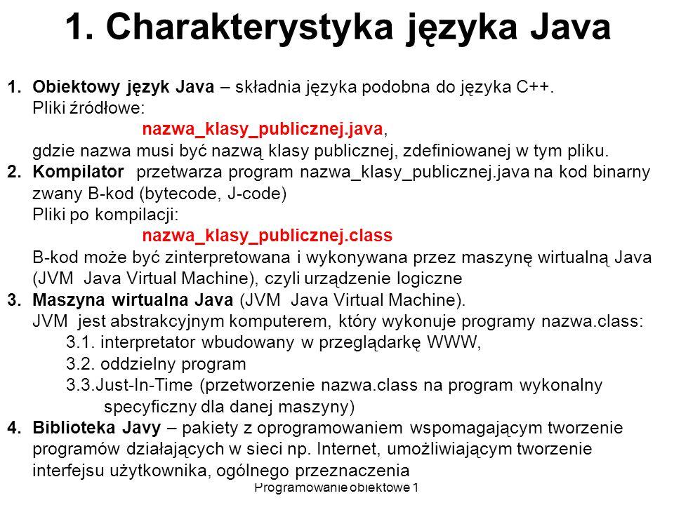 Zofia Kruczkiewicz Programowanie obiektowe 1 3 1. Charakterystyka języka Java 1.Obiektowy język Java – składnia języka podobna do języka C++. Pliki źr