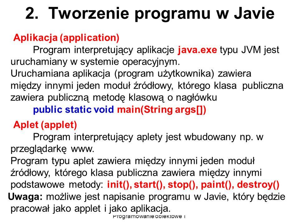 Zofia Kruczkiewicz Programowanie obiektowe 1 5 2. Tworzenie programu w Javie Aplikacja (application) Program interpretujący aplikacje java.exe typu JV