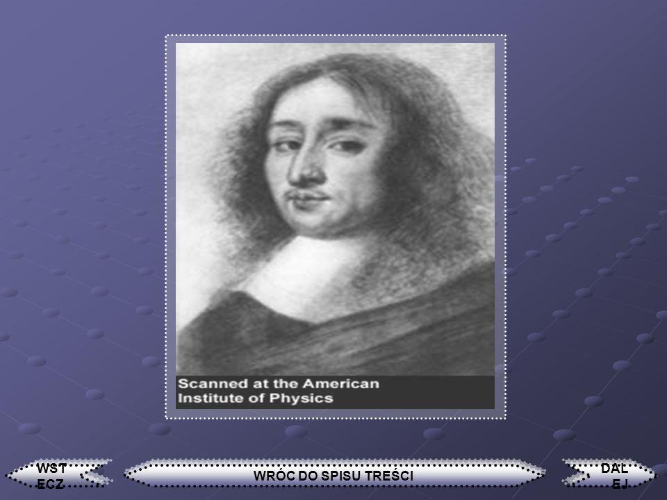Pascal Blaise Urodzony w 1623 roku, zmarł 1662. Francuski filozof (uważany był powszechnie za następcę Kartezjusza), fizyk i publicysta. Zasłynął ze s