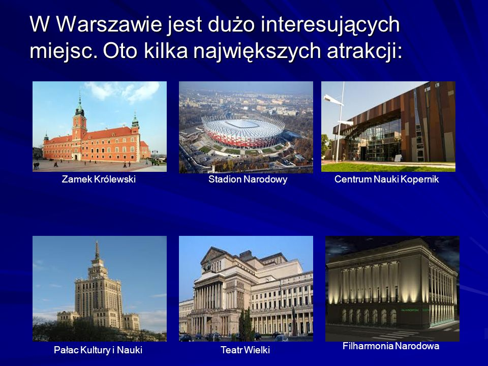 W Warszawie jest dużo interesujących miejsc. Oto kilka największych atrakcji: Pałac Kultury i NaukiTeatr Wielki Zamek KrólewskiStadion NarodowyCentrum