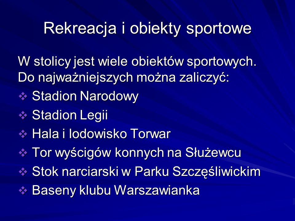 Rekreacja i obiekty sportowe W stolicy jest wiele obiektów sportowych. Do najważniejszych można zaliczyć: Stadion Narodowy Stadion Narodowy Stadion Le
