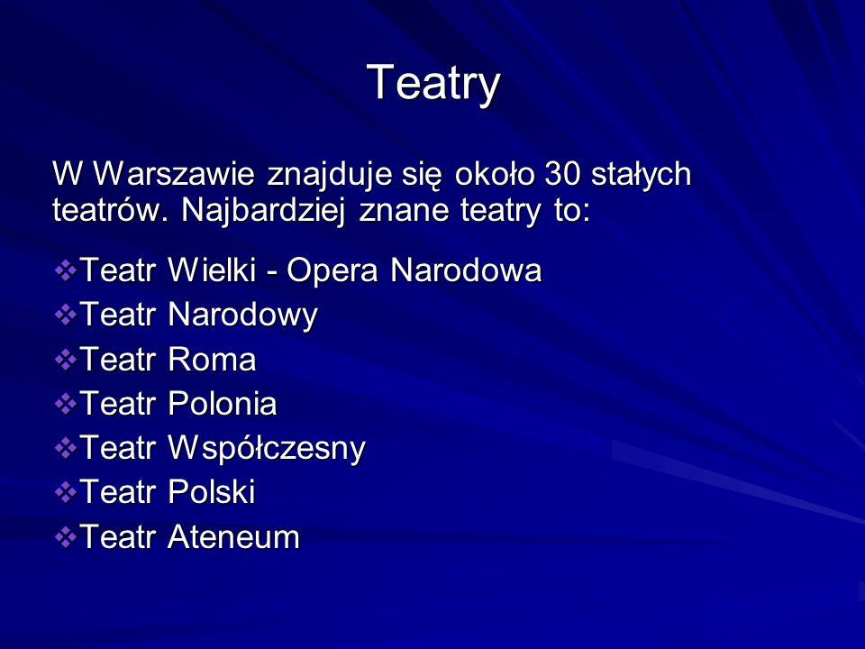 Teatry W Warszawie znajduje się około 30 stałych teatrów. Najbardziej znane teatry to: Teatr Wielki - Opera Narodowa Teatr Wielki - Opera Narodowa Tea