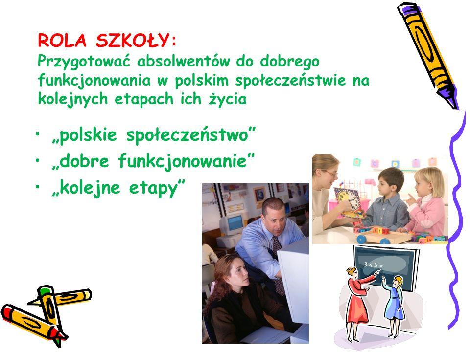 ROLA SZKOŁY: Przygotować absolwentów do dobrego funkcjonowania w polskim społeczeństwie na kolejnych etapach ich życia polskie społeczeństwo dobre fun