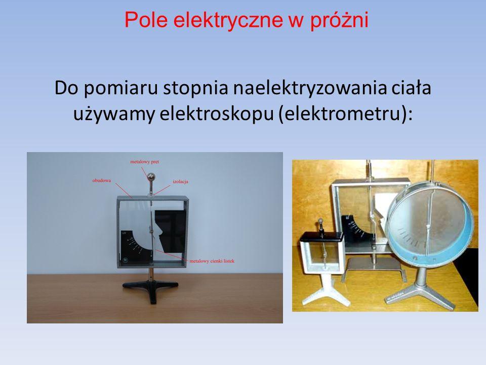 Do pomiaru stopnia naelektryzowania ciała używamy elektroskopu (elektrometru): Pole elektryczne w próżni