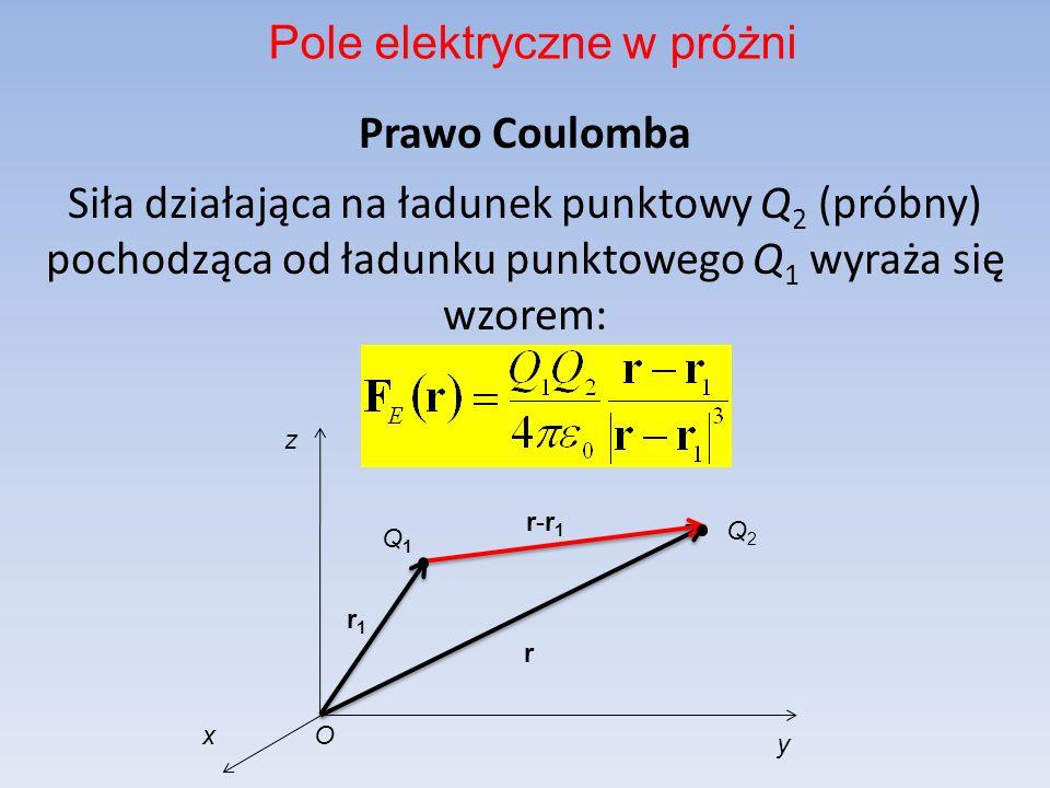 Prawo Coulomba Siła działająca na ładunek punktowy Q 2 (próbny) pochodząca od ładunku punktowego Q 1 wyraża się wzorem: Pole elektryczne w próżni r1r1 y z x r Q1Q1 Q2Q2 O r-r1r-r1