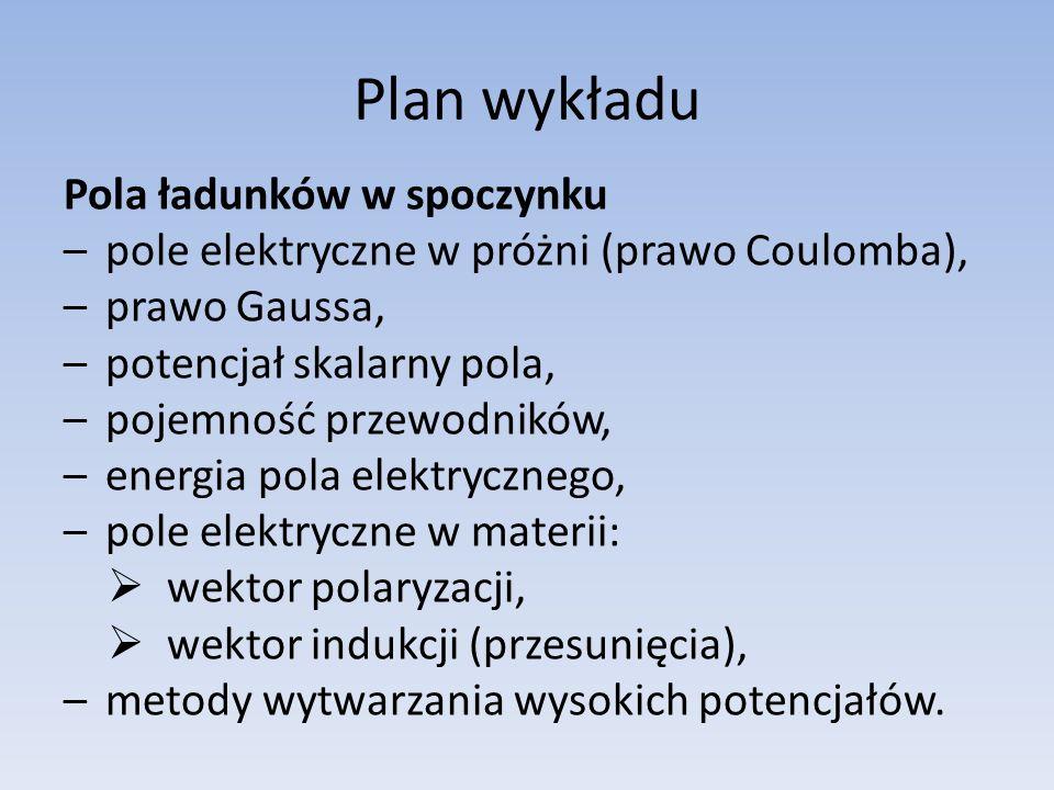 Plan wykładu Pola ładunków w spoczynku –pole elektryczne w próżni (prawo Coulomba), –prawo Gaussa, –potencjał skalarny pola, –pojemność przewodników, –energia pola elektrycznego, –pole elektryczne w materii: wektor polaryzacji, wektor indukcji (przesunięcia), –metody wytwarzania wysokich potencjałów.