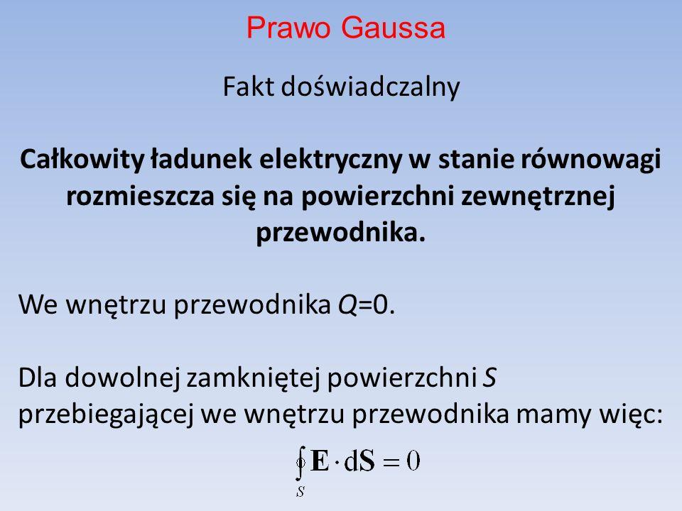 Fakt doświadczalny Całkowity ładunek elektryczny w stanie równowagi rozmieszcza się na powierzchni zewnętrznej przewodnika.