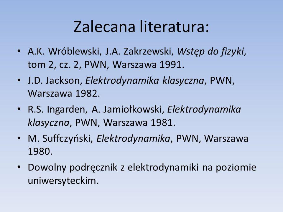 Zalecana literatura: A.K.Wróblewski, J.A. Zakrzewski, Wstęp do fizyki, tom 2, cz.