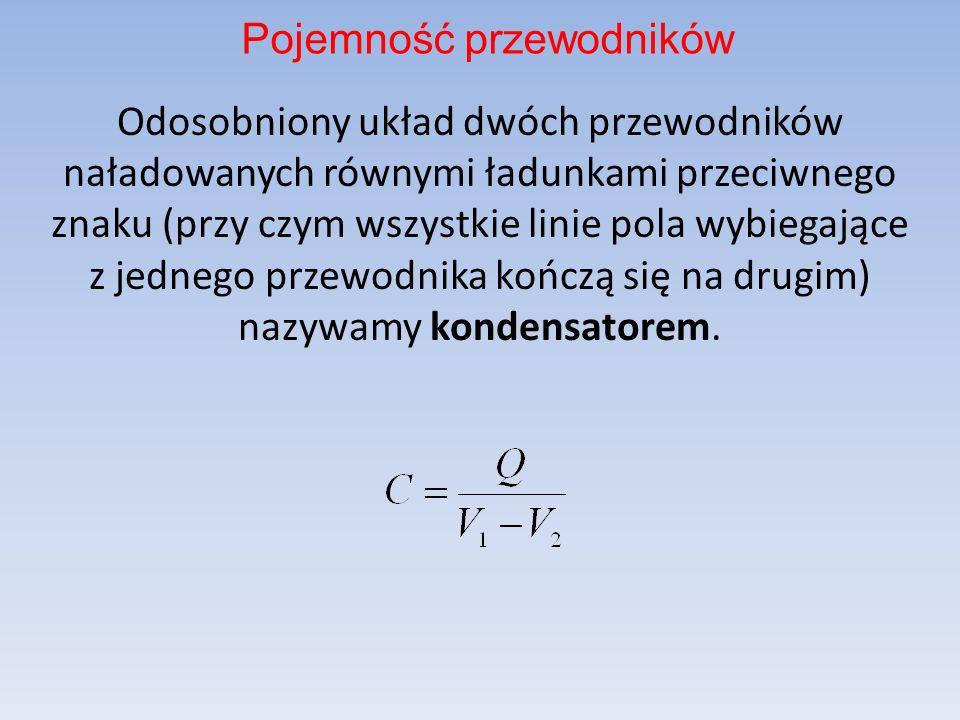Odosobniony układ dwóch przewodników naładowanych równymi ładunkami przeciwnego znaku (przy czym wszystkie linie pola wybiegające z jednego przewodnika kończą się na drugim) nazywamy kondensatorem.
