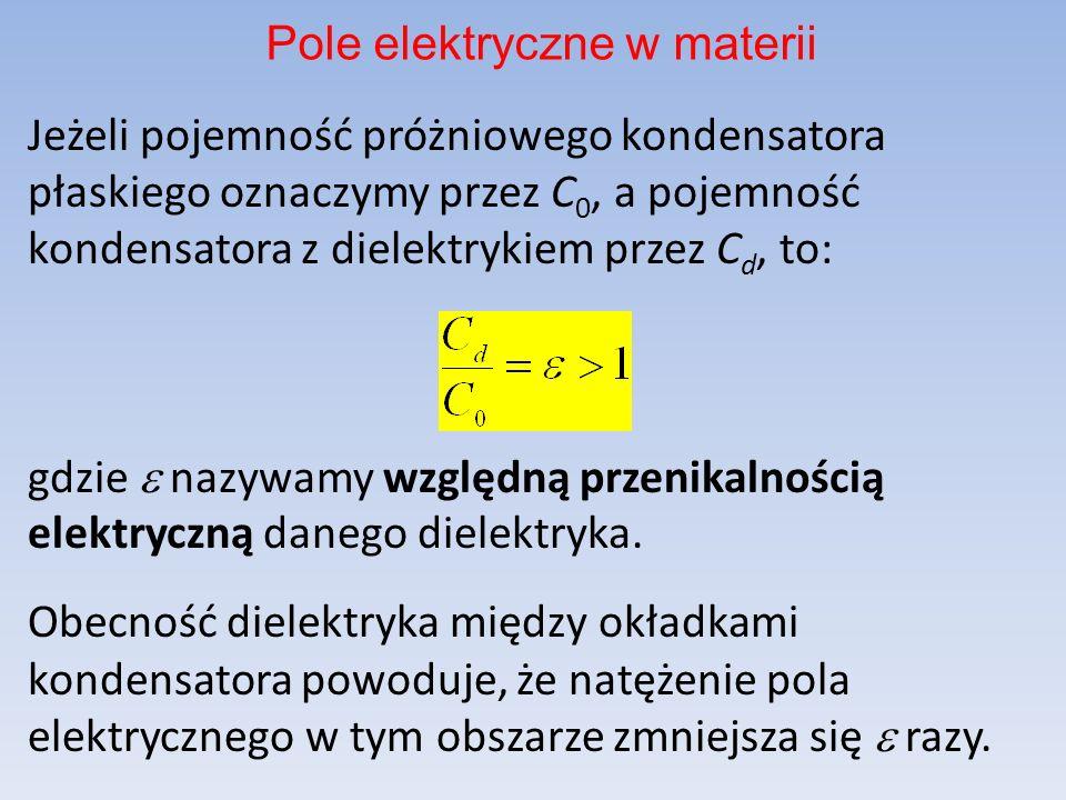 Jeżeli pojemność próżniowego kondensatora płaskiego oznaczymy przez C 0, a pojemność kondensatora z dielektrykiem przez C d, to: gdzie nazywamy względną przenikalnością elektryczną danego dielektryka.