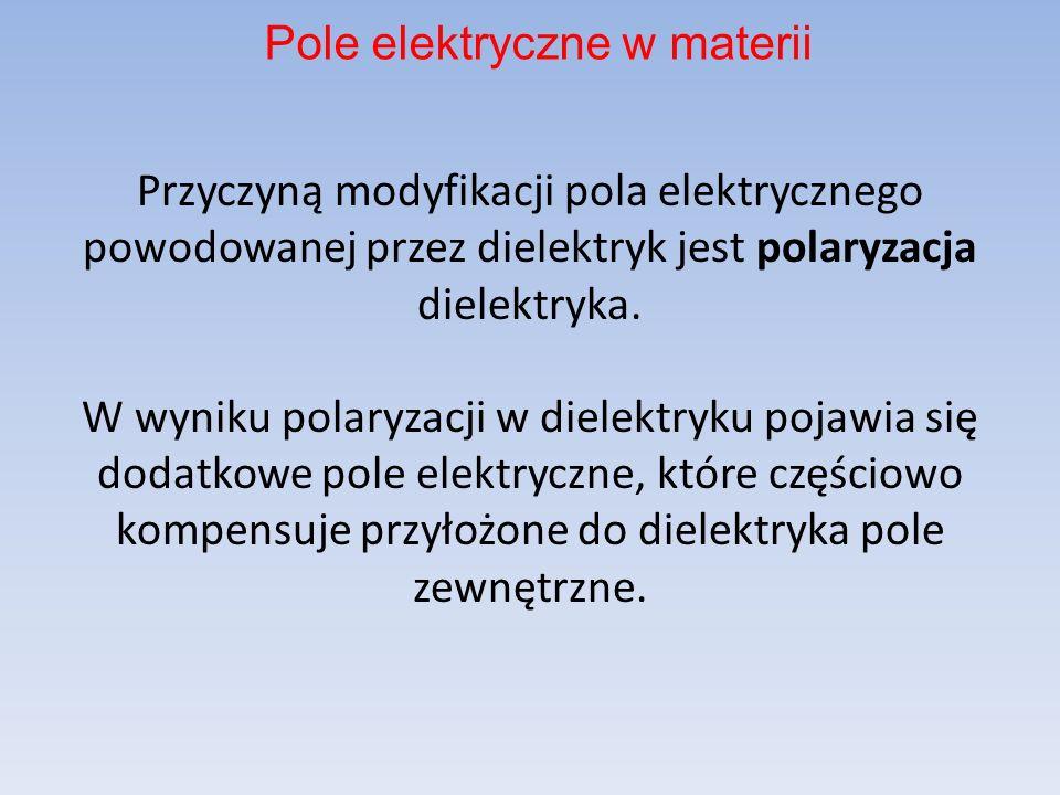 Przyczyną modyfikacji pola elektrycznego powodowanej przez dielektryk jest polaryzacja dielektryka.