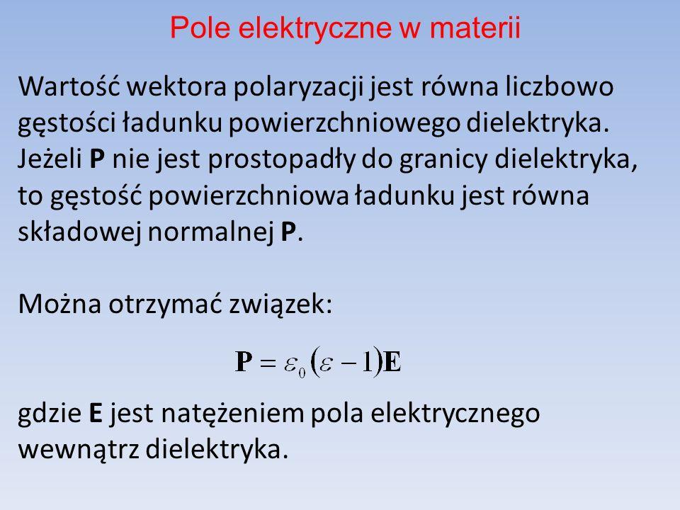 Wartość wektora polaryzacji jest równa liczbowo gęstości ładunku powierzchniowego dielektryka.