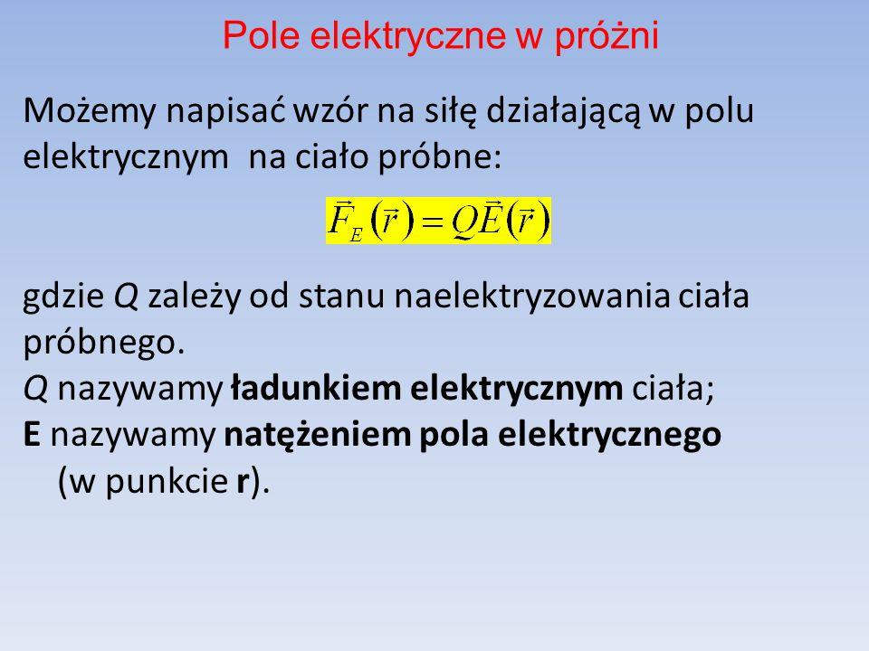 Możemy napisać wzór na siłę działającą w polu elektrycznym na ciało próbne: gdzie Q zależy od stanu naelektryzowania ciała próbnego.