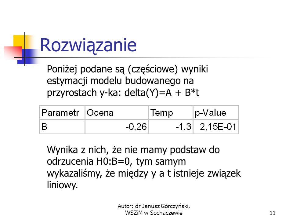 Autor: dr Janusz Górczyński, WSZiM w Sochaczewie12 Ostateczne rozwiązanie Wiemy już, że między czasem a zmienną y-ek istnieje związek liniowy.