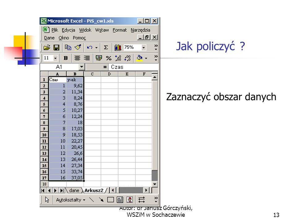 Autor: dr Janusz Górczyński, WSZiM w Sochaczewie13 Jak policzyć ? Zaznaczyć obszar danych