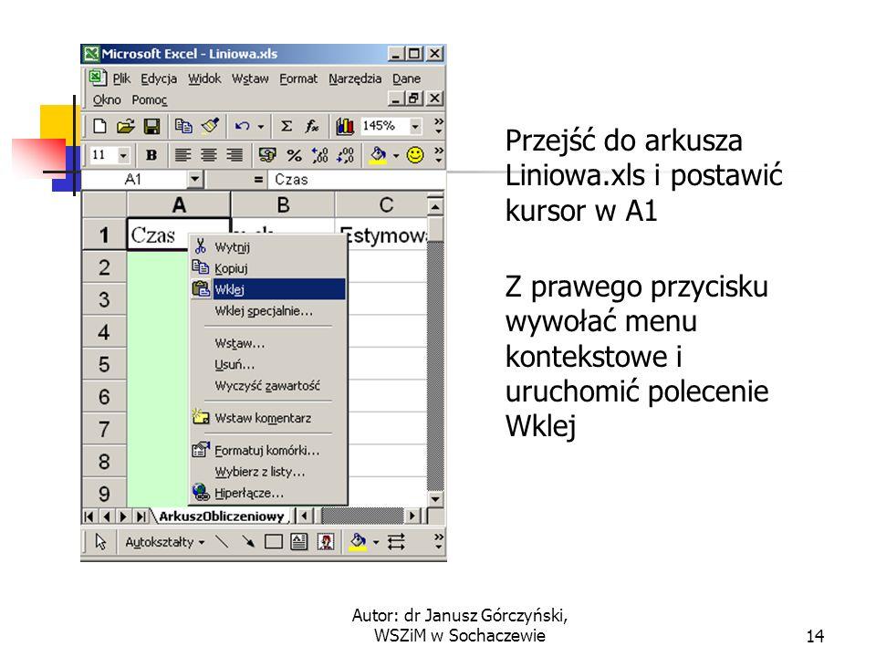 Autor: dr Janusz Górczyński, WSZiM w Sochaczewie14 Przejść do arkusza Liniowa.xls i postawić kursor w A1 Z prawego przycisku wywołać menu kontekstowe i uruchomić polecenie Wklej