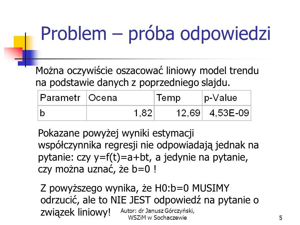 Autor: dr Janusz Górczyński, WSZiM w Sochaczewie5 Problem – próba odpowiedzi Można oczywiście oszacować liniowy model trendu na podstawie danych z poprzedniego slajdu.