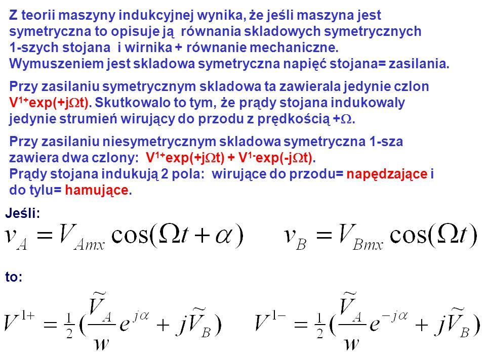 Z teorii maszyny indukcyjnej wynika, że jeśli maszyna jest symetryczna to opisuje ją równania skladowych symetrycznych 1-szych stojana i wirnika + rów