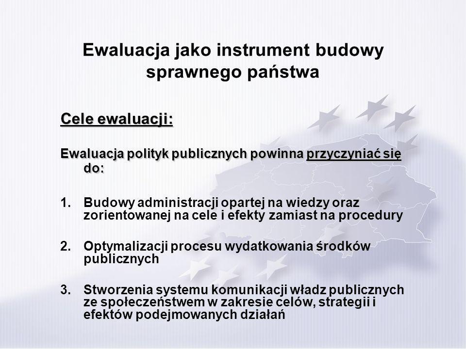 Ewaluacja jako instrument budowy sprawnego państwa Cele ewaluacji: Ewaluacja polityk publicznych powinna przyczyniać się do: 1.Budowy administracji opartej na wiedzy oraz zorientowanej na cele i efekty zamiast na procedury 2.Optymalizacji procesu wydatkowania środków publicznych 3.Stworzenia systemu komunikacji władz publicznych ze społeczeństwem w zakresie celów, strategii i efektów podejmowanych działań