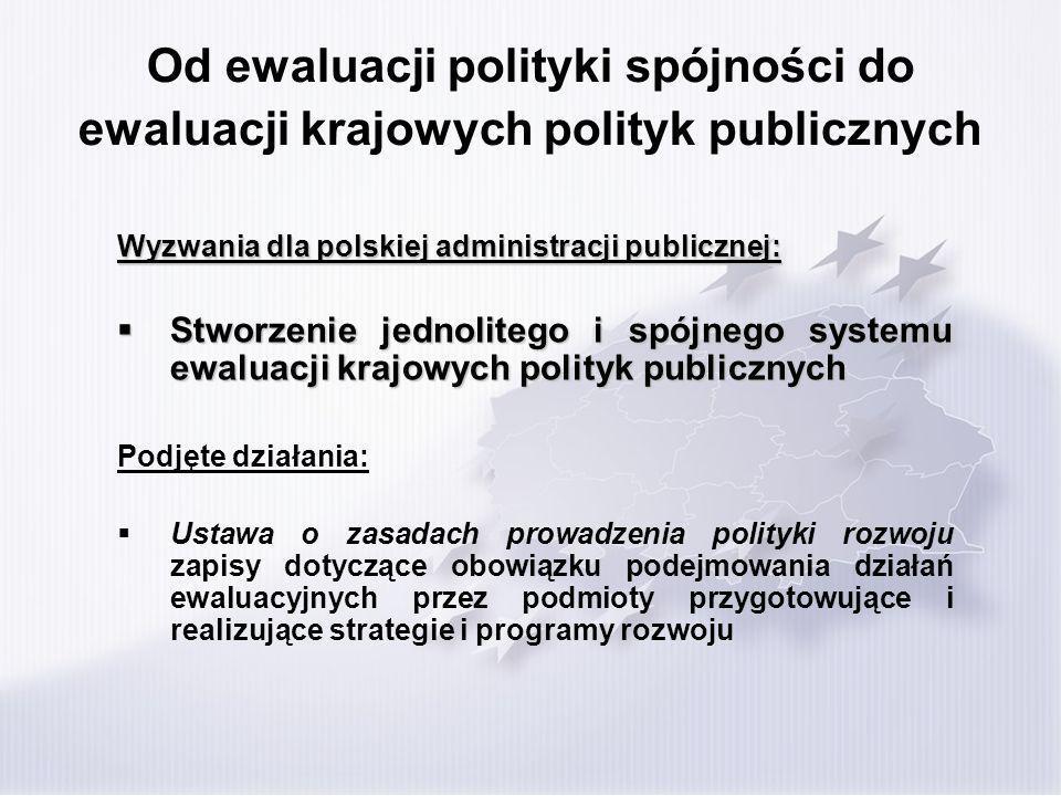Od ewaluacji polityki spójności do ewaluacji krajowych polityk publicznych Wyzwania dla polskiej administracji publicznej: Stworzenie jednolitego i spójnego systemu ewaluacji krajowych polityk publicznych Stworzenie jednolitego i spójnego systemu ewaluacji krajowych polityk publicznych Podjęte działania: Ustawa o zasadach prowadzenia polityki rozwoju zapisy dotyczące obowiązku podejmowania działań ewaluacyjnych przez podmioty przygotowujące i realizujące strategie i programy rozwoju