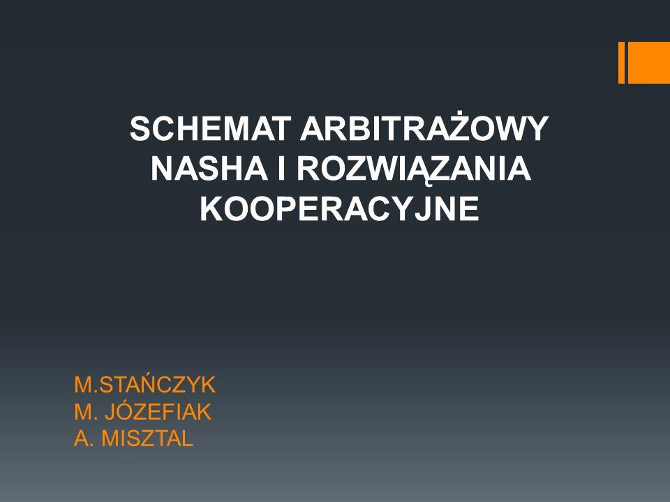 M.STAŃCZYK M. JÓZEFIAK A. MISZTAL SCHEMAT ARBITRAŻOWY NASHA I ROZWIĄZANIA KOOPERACYJNE