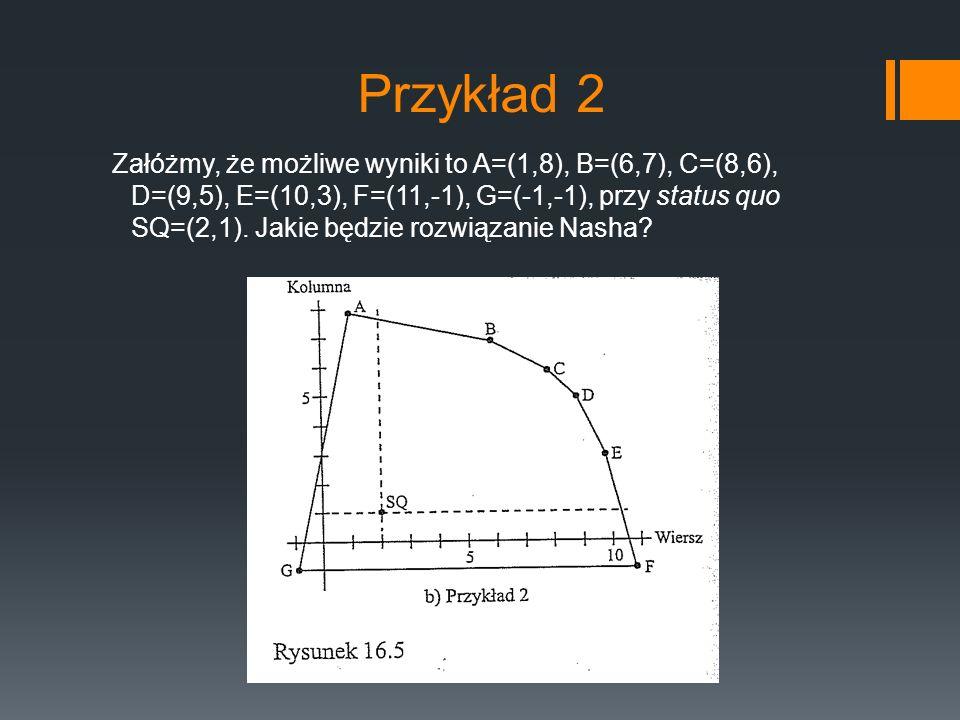 Przykład 2 Załóżmy, że możliwe wyniki to A=(1,8), B=(6,7), C=(8,6), D=(9,5), E=(10,3), F=(11,-1), G=(-1,-1), przy status quo SQ=(2,1). Jakie będzie ro