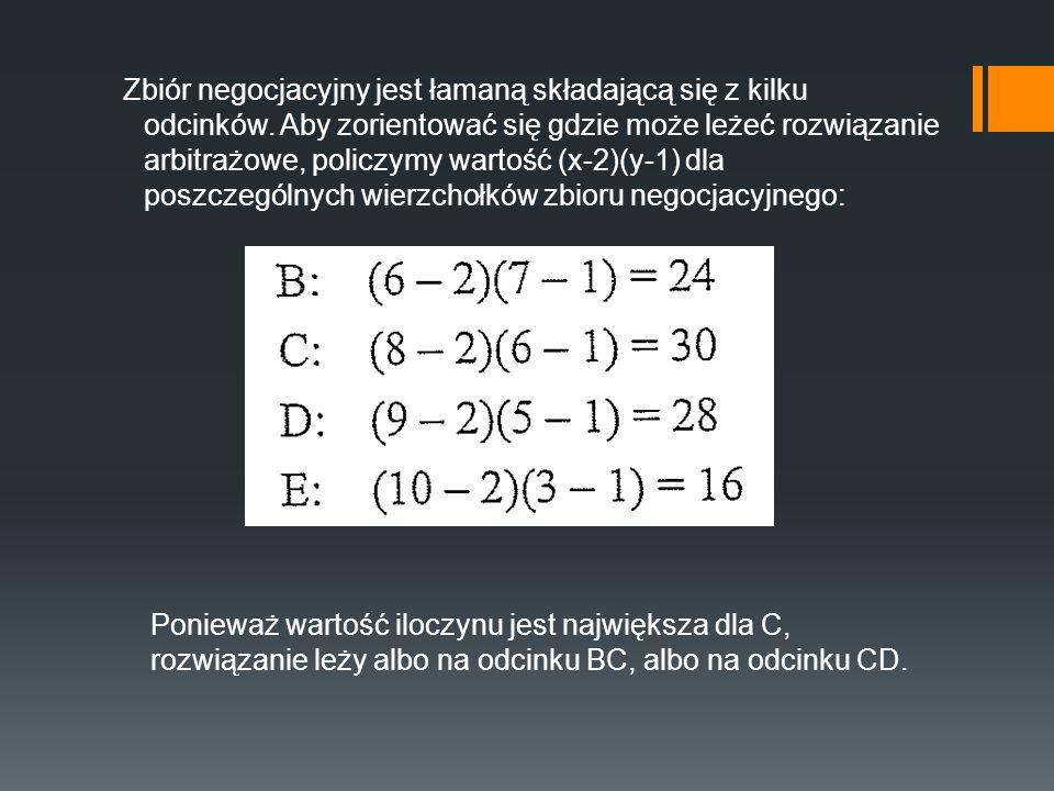Zbiór negocjacyjny jest łamaną składającą się z kilku odcinków. Aby zorientować się gdzie może leżeć rozwiązanie arbitrażowe, policzymy wartość (x-2)(