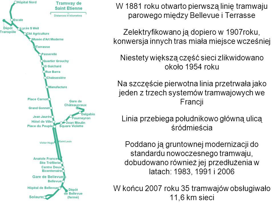 W 1881 roku otwarto pierwszą linię tramwaju parowego między Bellevue i Terrasse Zelektryfikowano ją dopiero w 1907roku, konwersja innych tras miała mi