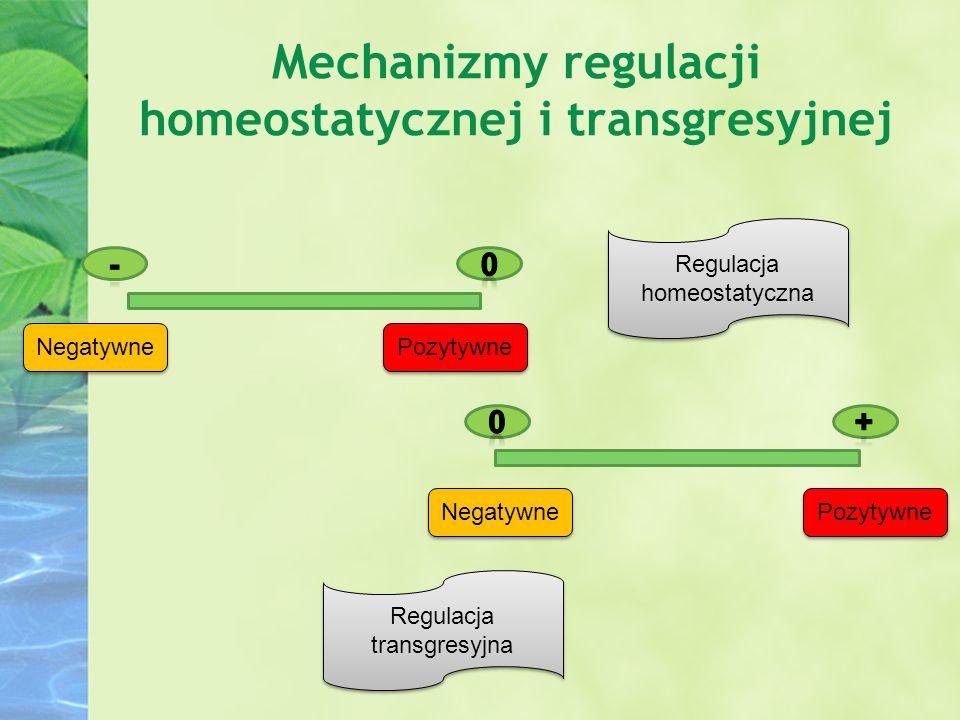 Mechanizmy regulacji homeostatycznej i transgresyjnej Negatywne Pozytywne Regulacja transgresyjna Regulacja homeostatyczna
