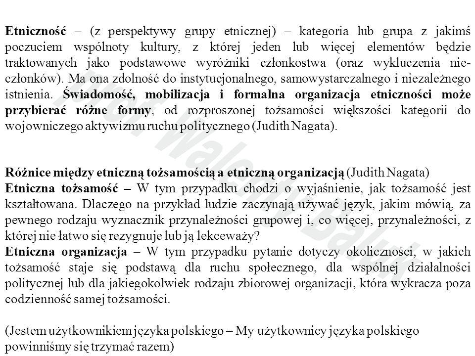 Etniczność – (z perspektywy grupy etnicznej) – kategoria lub grupa z jakimś poczuciem wspólnoty kultury, z której jeden lub więcej elementów będzie traktowanych jako podstawowe wyróżniki członkostwa (oraz wykluczenia nie- członków).