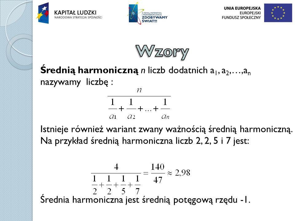 Średnią harmoniczną n liczb dodatnich a 1, a 2,…,a n nazywamy liczbę : Istnieje również wariant zwany ważnością średnią harmoniczną. Na przykład średn