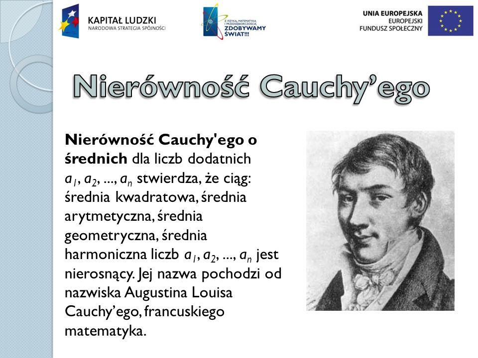 Nierówność Cauchy'ego o średnich dla liczb dodatnich a 1, a 2,..., a n stwierdza, że ciąg: średnia kwadratowa, średnia arytmetyczna, średnia geometryc