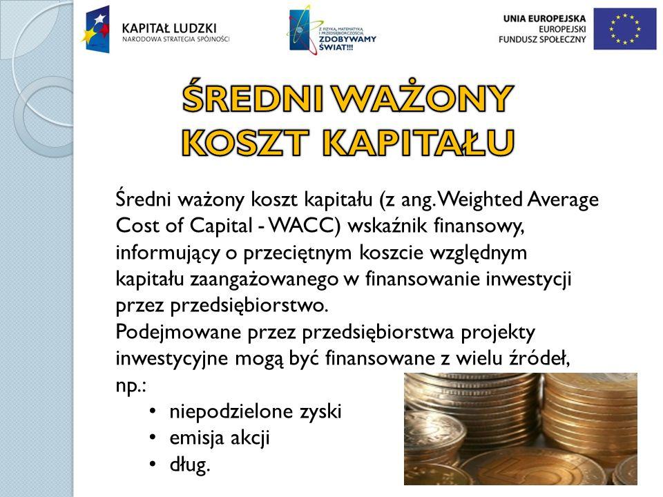 Średni ważony koszt kapitału (z ang. Weighted Average Cost of Capital - WACC) wskaźnik finansowy, informujący o przeciętnym koszcie względnym kapitału