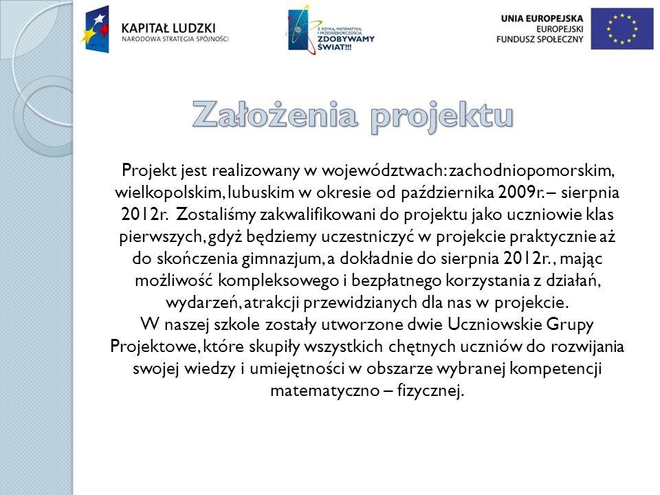 Projekt jest realizowany w województwach: zachodniopomorskim, wielkopolskim, lubuskim w okresie od października 2009r. – sierpnia 2012r. Zostaliśmy za