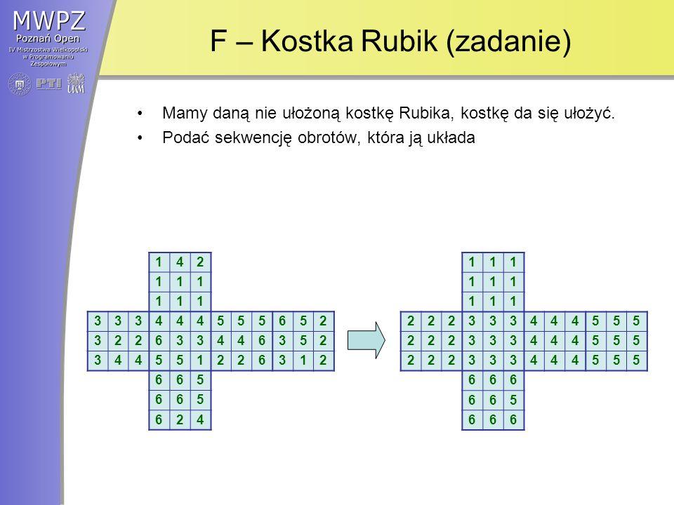 F – Kostka Rubik (zadanie) Mamy daną nie ułożoną kostkę Rubika, kostkę da się ułożyć.
