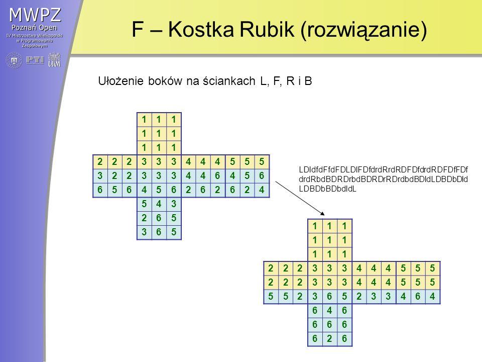 F – Kostka Rubik (rozwiązanie) 111 111 111 222333444555 322333446456 656456262624 543 265 365 111 111 111 222333444555 222333444555 552365233464 646 666 626 Ułożenie boków na ściankach L, F, R i B LDldfdFfdFDLDlFDfdrdRrdRDFDfdrdRDFDfFDf drdRbdBDRDrbdBDRDrRDrdbdBDldLDBDbDld LDBDbBDbdldL
