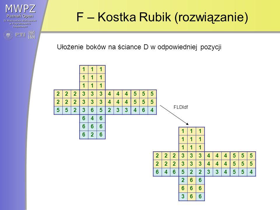 F – Kostka Rubik (rozwiązanie) 111 111 111 222333444555 222333444555 552365233464 646 666 626 111 111 111 222333444555 222333444555 646522334554 266 666 366 Ułożenie boków na ściance D w odpowiedniej pozycji FLDldf