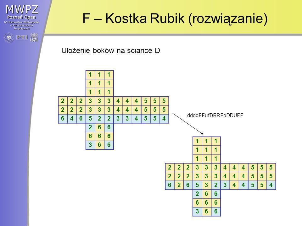 F – Kostka Rubik (rozwiązanie) 111 111 111 222333444555 222333444555 646522334554 266 666 366 111 111 111 222333444555 222333444555 626532344554 266 666 366 Ułożenie boków na ściance D ddddFFufBRRFbDDUFF
