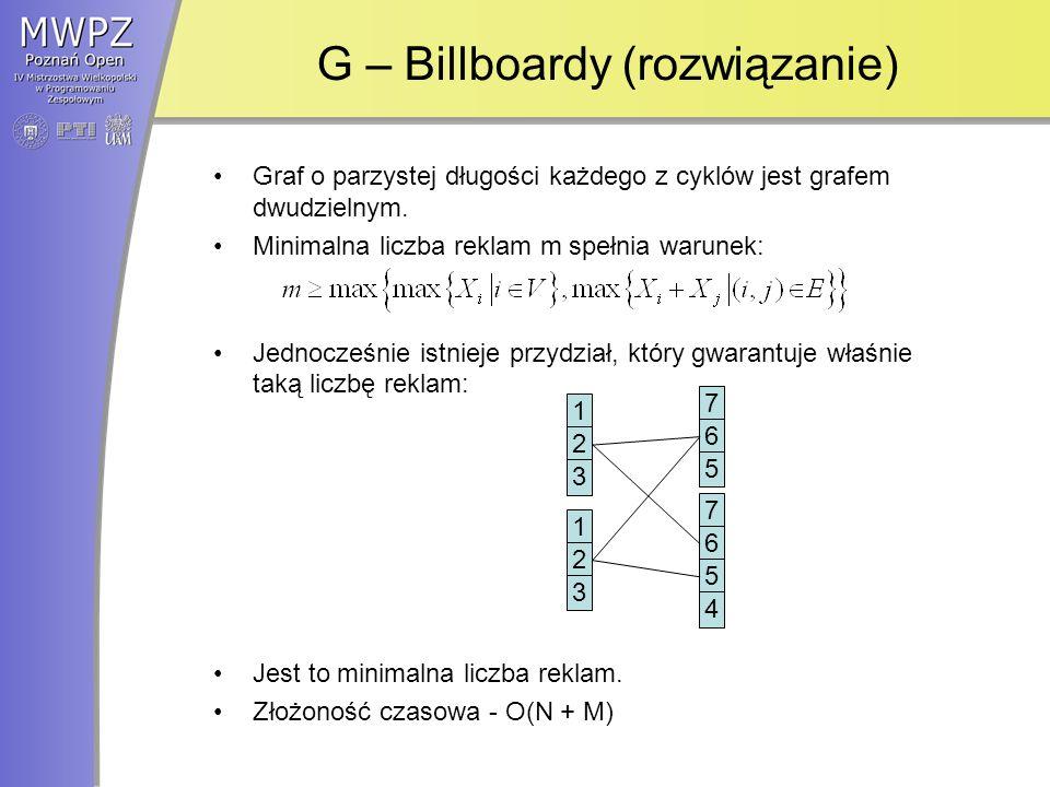 G – Billboardy (rozwiązanie) Graf o parzystej długości każdego z cyklów jest grafem dwudzielnym.