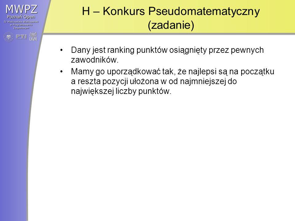 H – Konkurs Pseudomatematyczny (zadanie) Dany jest ranking punktów osiągnięty przez pewnych zawodników.