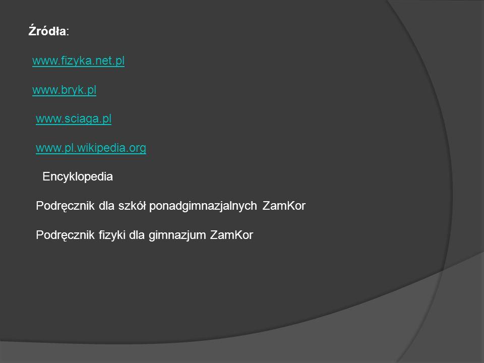 Źródła: www.fizyka.net.pl www.bryk.pl www.sciaga.pl www.pl.wikipedia.org Encyklopedia Podręcznik dla szkół ponadgimnazjalnych ZamKor Podręcznik fizyki