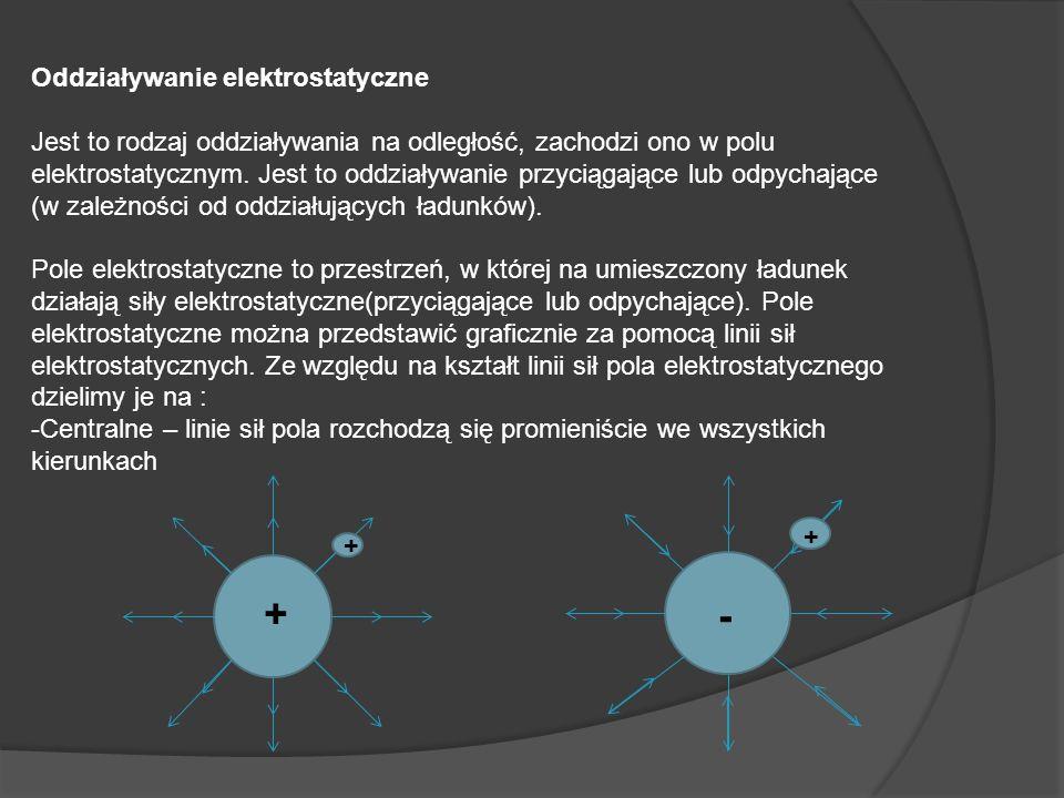 Oddziaływanie elektrostatyczne Jest to rodzaj oddziaływania na odległość, zachodzi ono w polu elektrostatycznym. Jest to oddziaływanie przyciągające l