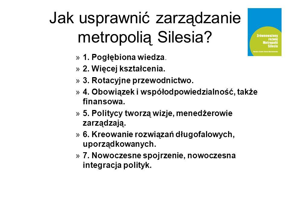 Jak usprawnić zarządzanie metropolią Silesia? »1. Pogłębiona wiedza. »2. Więcej kształcenia. »3. Rotacyjne przewodnictwo. »4. Obowiązek i współodpowie