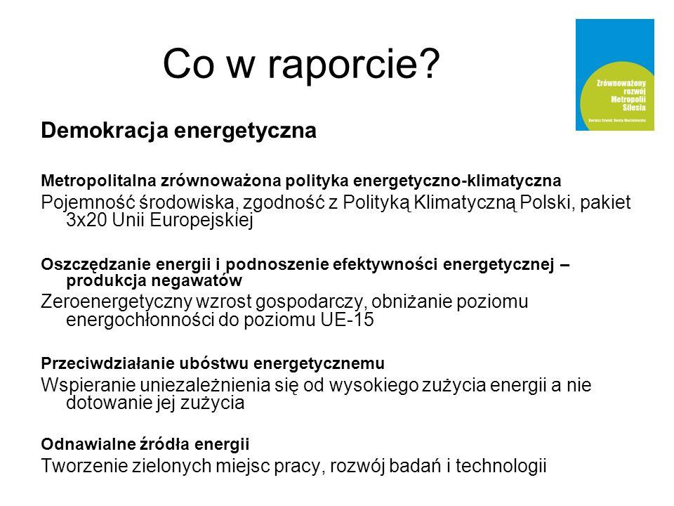 Demokracja energetyczna Metropolitalna zrównoważona polityka energetyczno-klimatyczna Pojemność środowiska, zgodność z Polityką Klimatyczną Polski, pakiet 3x20 Unii Europejskiej Oszczędzanie energii i podnoszenie efektywności energetycznej – produkcja negawatów Zeroenergetyczny wzrost gospodarczy, obniżanie poziomu energochłonności do poziomu UE-15 Przeciwdziałanie ubóstwu energetycznemu Wspieranie uniezależnienia się od wysokiego zużycia energii a nie dotowanie jej zużycia Odnawialne źródła energii Tworzenie zielonych miejsc pracy, rozwój badań i technologii Co w raporcie
