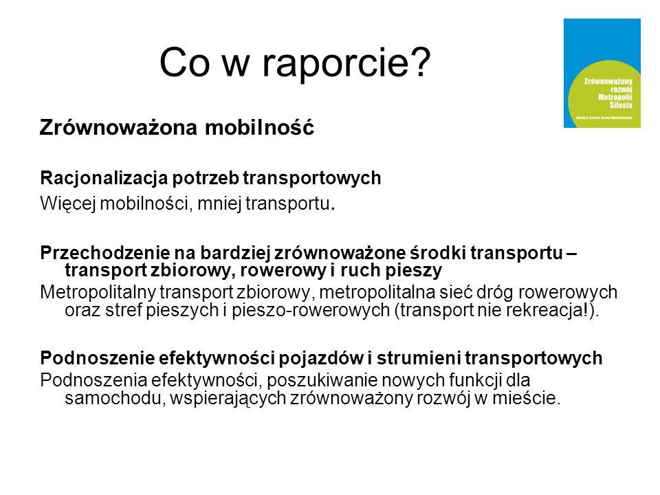 Zrównoważona mobilność Racjonalizacja potrzeb transportowych Więcej mobilności, mniej transportu. Przechodzenie na bardziej zrównoważone środki transp
