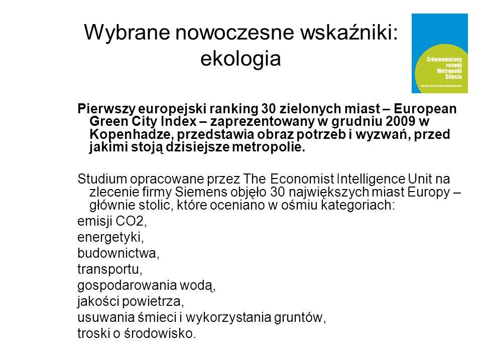 Wybrane nowoczesne wskaźniki: ekologia Pierwszy europejski ranking 30 zielonych miast – European Green City Index – zaprezentowany w grudniu 2009 w Kopenhadze, przedstawia obraz potrzeb i wyzwań, przed jakimi stoją dzisiejsze metropolie.
